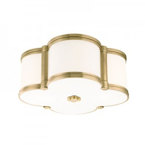 This Two Light Flush Mount is part of the Chandler Collection and has an Aged Brass Finish. It is Energy Star Compliant.