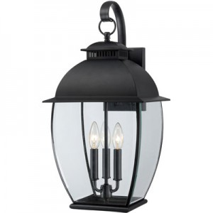 This Three Light Wall Lantern is part of the Bain Collection and has a Mystic Black Finish. It is Outdoor Capable.
