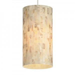 Elegant multi-toned cylindrical pendant shade comprised of natural shell panels.