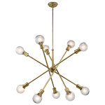 """Kichler: Mid-Century 10-light rectangular chandelier from the Armstrong collection featuring a """"sputnik"""" design with adjustable arms."""