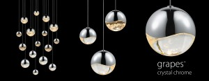 Sonneman Grapes™: Luminous LED spheres in multiple sizes with a precisely crafted metal hemisphere infinity wave surrounding a crystal semisphere.